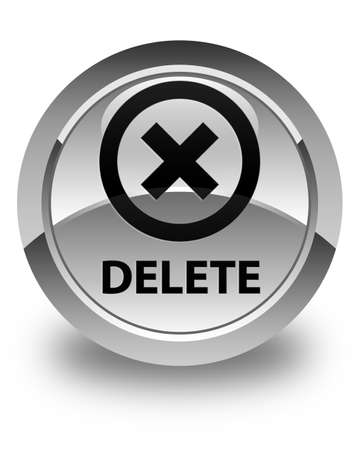 delete: Delete glossy white round button Stock Photo
