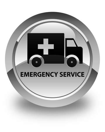 heathcare: Emergency service glossy white round button