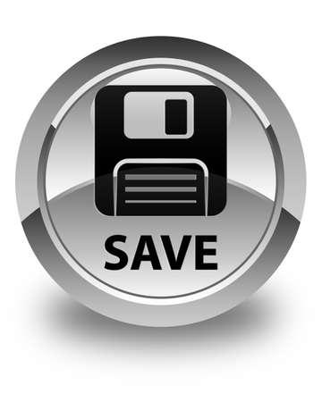 floppy disk: Save (floppy disk icon) glossy white round button Stock Photo