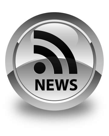 news current events: News (RSS icon) glossy white round button Stock Photo