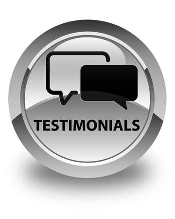 authenticate: Testimonials glossy white round button