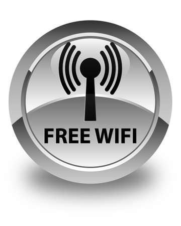 wlan: Free wifi (wlan network) glossy white round button