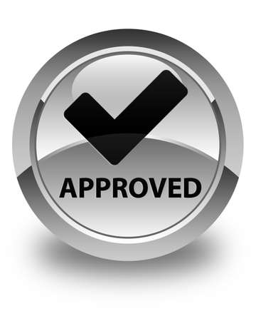 validate: Approved (validate icon) glossy white round button
