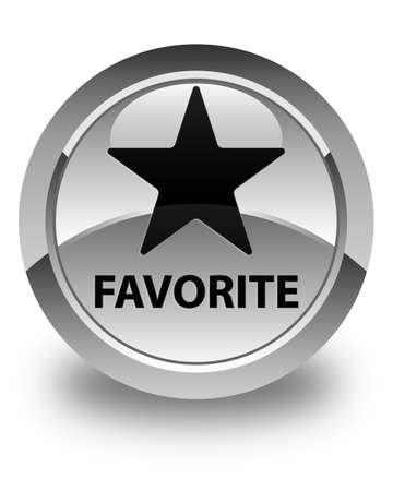 Favorite (star icon) glossy white round button