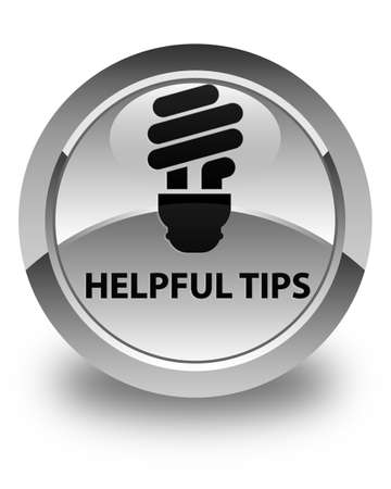 helpful: Helpful tips (bulb icon) glossy white round button