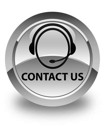 consultants: Contact us (customer care icon) glossy white round button Stock Photo