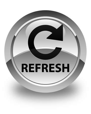 rotate: Refresh (rotate arrow icon) glossy white round button