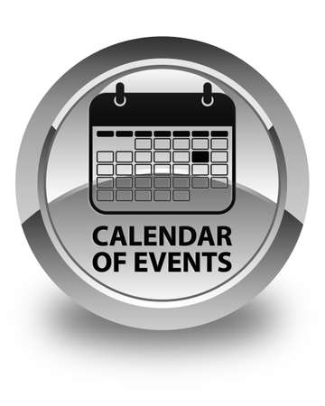 organizer: Calendar of events glossy white round button Stock Photo