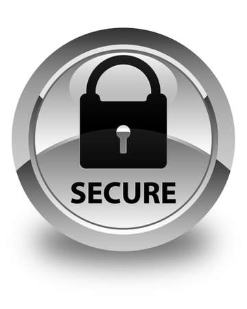 key hole shape: Secure (padlock icon) glossy white round button Stock Photo