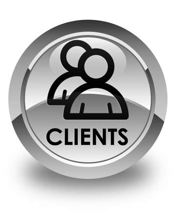 clientele: Clients (group icon) glossy white round button