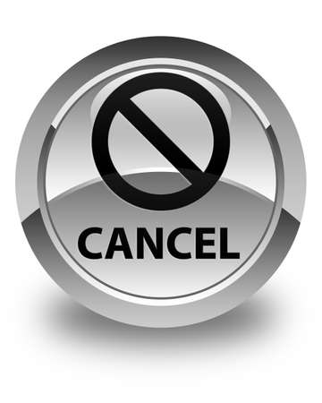 to refuse: Cancel (prohibition sign icon) glossy white round button