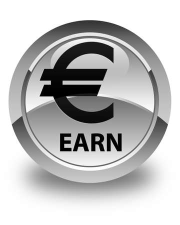 earn: Earn (euro sign) glossy white round button