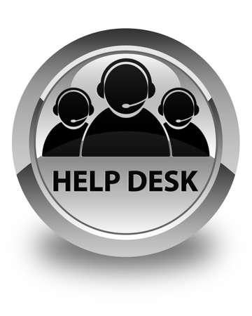 help desk: Help desk (customer care team icon) glossy white round button