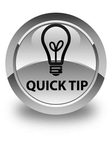 hints: Quick tip (bulb icon) glossy white round button Stock Photo