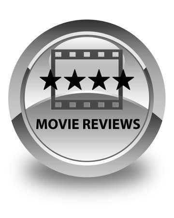 ratings: Movie reviews glossy white round button Stock Photo