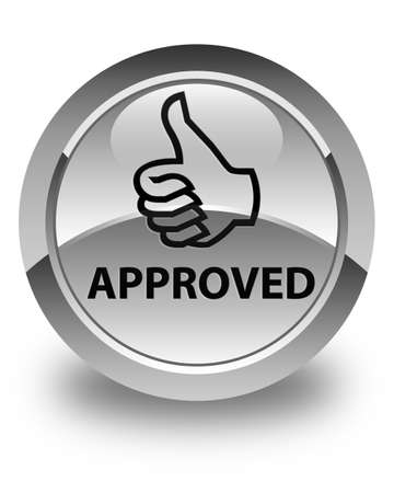 thumbs up icon: Approved (thumbs up icon) glossy white round button