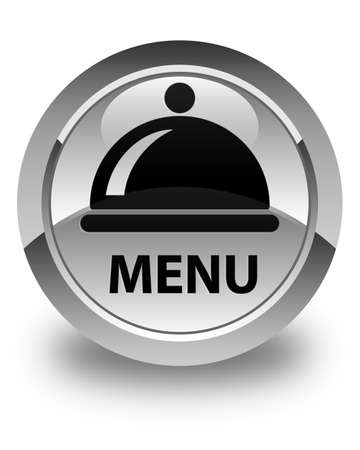 cater: Menu (food dish icon) glossy white round button