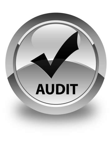 validate: Audit (validate icon) glossy white round button