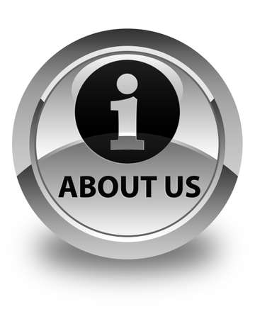 about us: About us glossy white round button