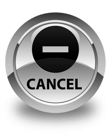 to refuse: Cancel glossy white round button