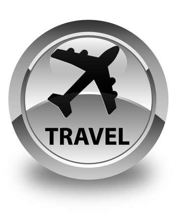 airway: Travel (plane icon) glossy white round button Stock Photo