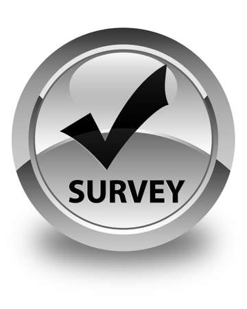 validate: Survey (validate icon) glossy white round button