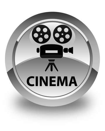 cinematographic: Cinema (video camera icon) glossy white round button