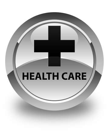 plus sign: Health care (plus sign) glossy white round button Stock Photo