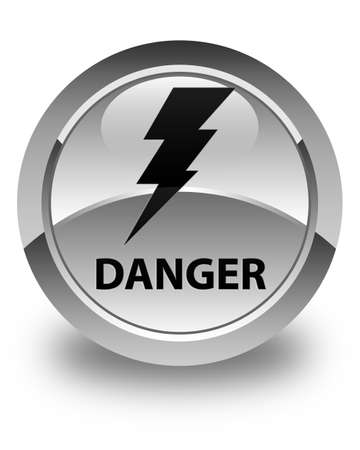 high voltage symbol: Danger (electricity icon) glossy white round button