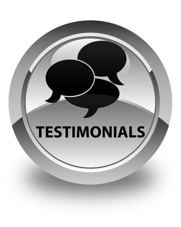 comments: Testimonials (comments icon) glossy white round button