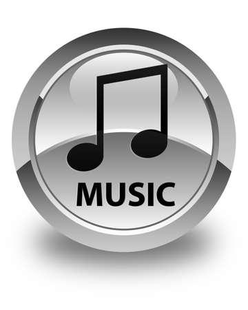 tune: Music (tune icon) glossy white round button