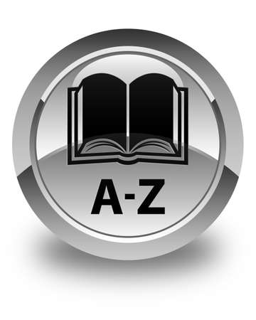 az: A-Z (book icon) glossy white round button Stock Photo