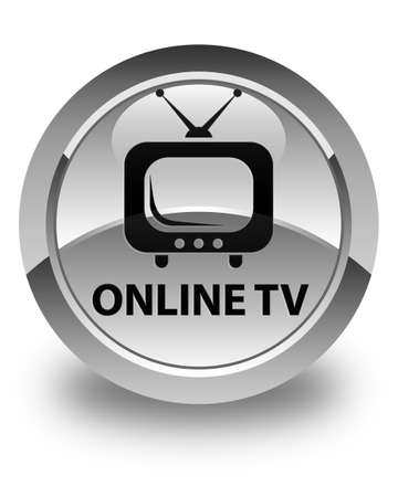 tv station: Online tv glossy white round button