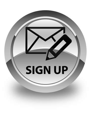 registry: Sign up (edit mail icon) glossy white round button Stock Photo