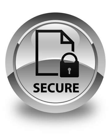 key hole shape: Secure (document page padlock icon) glossy white round button