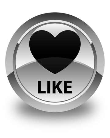 valentin's: Like (heart icon) glossy white round button Stock Photo