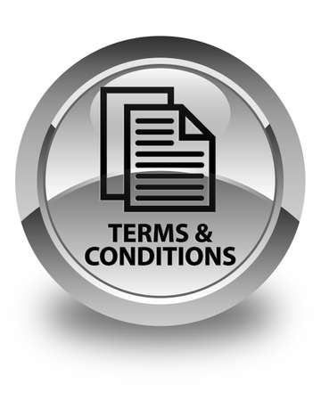 terms: Terms and conditions (pages icon) glossy white round button Stock Photo