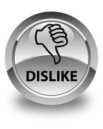 disapprove: Dislike glossy white round button
