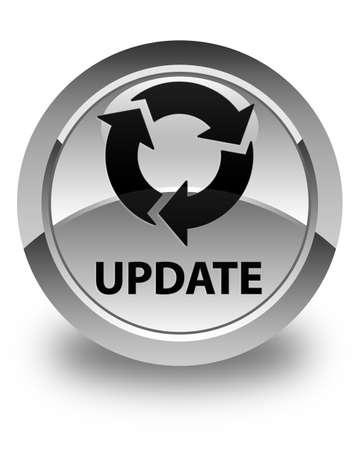 refresh icon: Update (refresh icon) glossy white round button