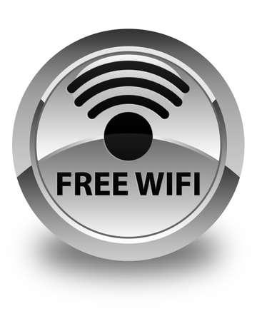 hotspot: Free wifi glossy white round button