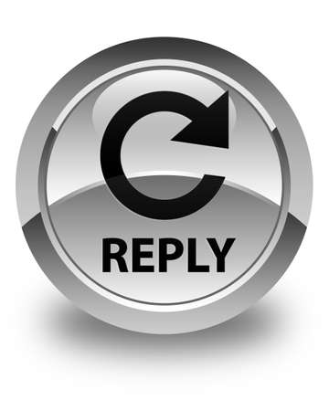 reply: Reply (rotate arrow icon) glossy white round button