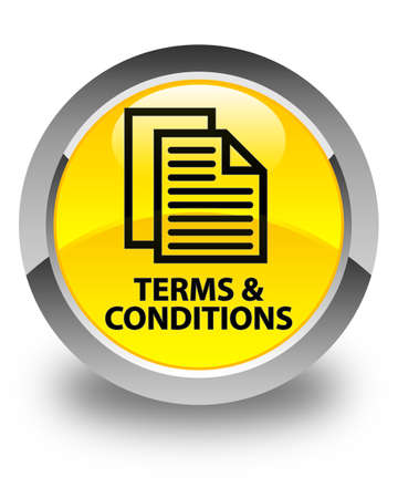 yellow pages: Terms and conditions (pages icon) glossy yellow round button