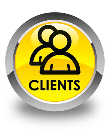 clientele: Clients (group icon) glossy yellow round button