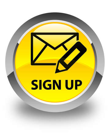 registry: Sign up (edit mail icon) glossy yellow round button