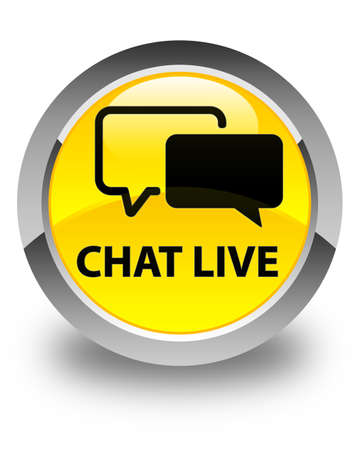 instant message: Chat live glossy yellow round button Stock Photo