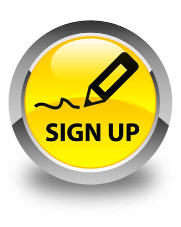 registry: Sign up glossy yellow round button Stock Photo