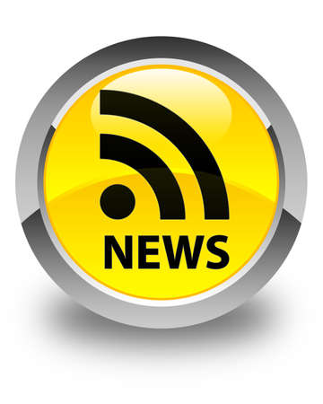 rss icon: News (RSS icon) glossy yellow round button