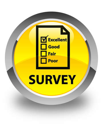 questionnaire: Survey (questionnaire icon) glossy yellow round button