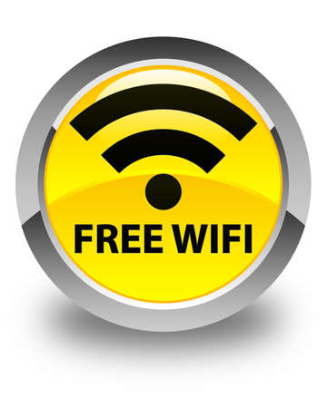 crossover: Free wifi glossy yellow round button Stock Photo