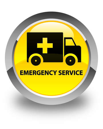 heathcare: Emergency service glossy yellow round button